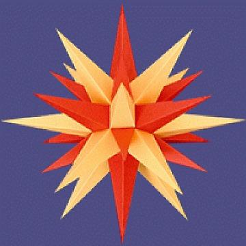 Herrnhuter Stern fürs Fenster rot-gelb 13 cm